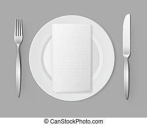 White Empty Flat Round Plate Silver Fork Knife Rectangular Napkin