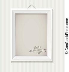 White empty frame hanging
