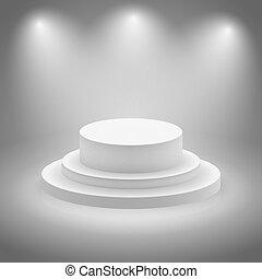 White empty illuminated stage