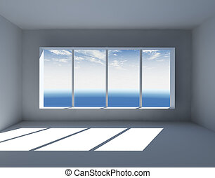 White Empty Interior With Big Window 3D Render