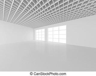 White empty interior with window. 3d rendering.