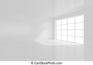 White empty interior with window. 3d rendering.