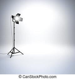 White empty photo studio with professional flashlight.