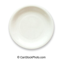 White empty plate top view isolated