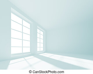 White Empty Room - 3d Illustration of Blue Abstract Interior...
