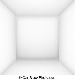White empty room - White simple empty room interior, box. ...