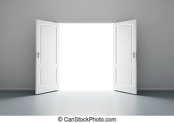 white empty room with opened door