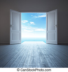 white empty room with opened door - 3d rendering the empty...