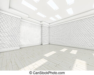 White empty room with parquet. 3D