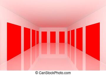 White Empty room with red door