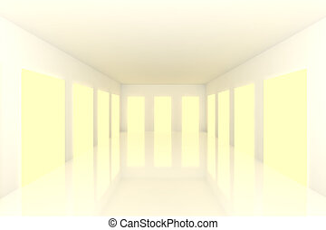 White Empty room with yellow door