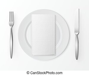 White Empty Round Plate Silver Fork Knife Rectangular Napkin Table