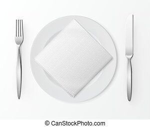 White Empty Round Plate Silver Fork Knife Square Napkin Table