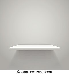 White empty shelf on grey wall. Vector mockup