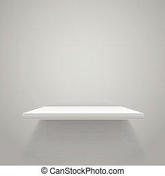 White empty shelf on grey wall. Vector mockup