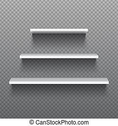 White empty shelves. Blank bookshelves. Simplicity store...