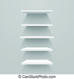 White empty shelves on grey wall. Vector mockup