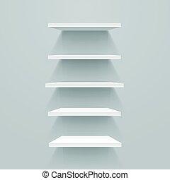 White empty shelves on grey wall. Vector mockup