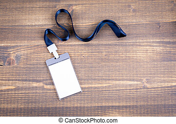 White empty staff identity mockup with blue lanyard. Name tag, ID card