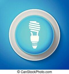 White Energy saving light bulb icon isolated on blue background. Circle blue button with white line. Vector Illustration
