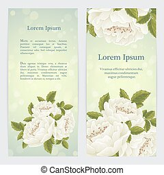 White english rose graphic flowers. For wedding invitation...