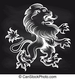 White engraving royal lion on blackboard