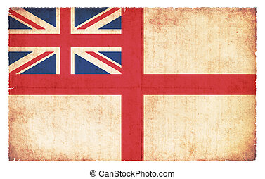 White Ensign of Great Britain (naval flag) created in grunge style