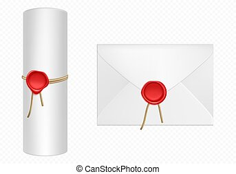 White envelope and scroll with red wax template