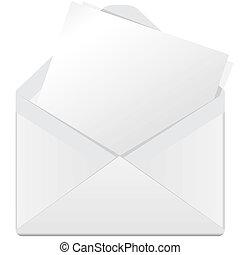 white envelope - illustration, white open envelope on a...