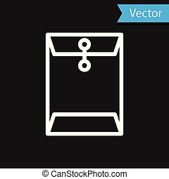 White Envelope icon isolated on black background. Email message letter symbol. Vector Illustration
