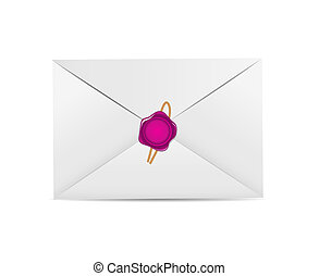 White Envelope Icon with Wax Seal Vector Illustration