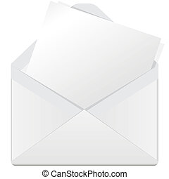 white envelope - illustration, white open envelope on a...