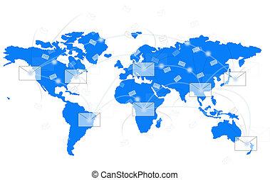 white envelope on blue world map