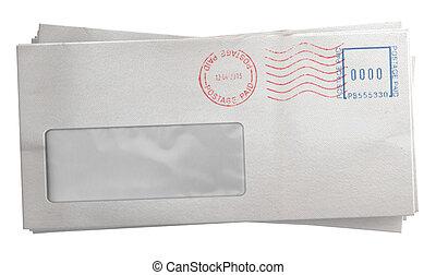 White Envelope Stack - A stack of regular white envelopes ...