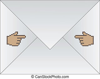 white envelope with cursor hand