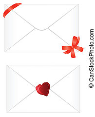 white envelope with red ribbon and seal