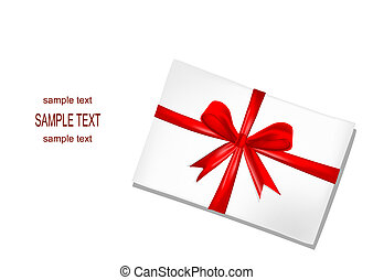 White envelope with red ribbon on w