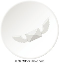 White envelope with two wings icon circle