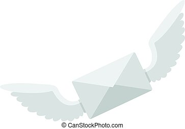 White envelope with two wings icon isolated