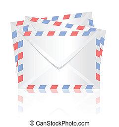 white envelopes - colorful illustration with white envelopes...