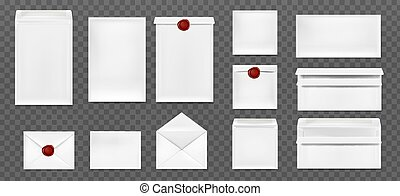 White envelopes with red wax seal. Vector realistic mockup of blank closed and open envelopes, letter covers front and back view. Mock up of paper folder with wax stamps