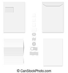 White Envelopes / Writing Paper / Postage Stamps