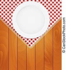 White Eppty Plate on Kitchen Napkin at Wooden Boards...