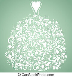 white esküvő, ruha, szüret, vektor, árnykép