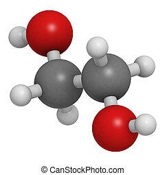 (white), ethylene, convencional, coding:, predios, oxigênio, cor, molecular, poliéster, átomos, esferas, antifreeze, (red), model., car, representado, carbono, glycol, bloco, hidrogênio, (grey)