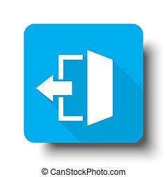 White Exit icon on blue web button