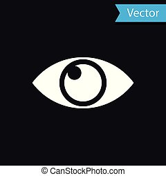 White Eye icon isolated on black background. Vector Illustration