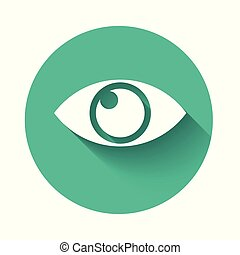 White Eye icon isolated with long shadow. Green circle button. Vector Illustration