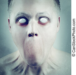 White Eyed Psychedelic Face - Scary man with white eyes and...