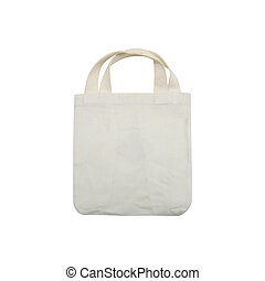 white fabric bag isolated on white background
